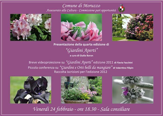 Locandina presentazione giardini aperti 2012 comune moruzzo