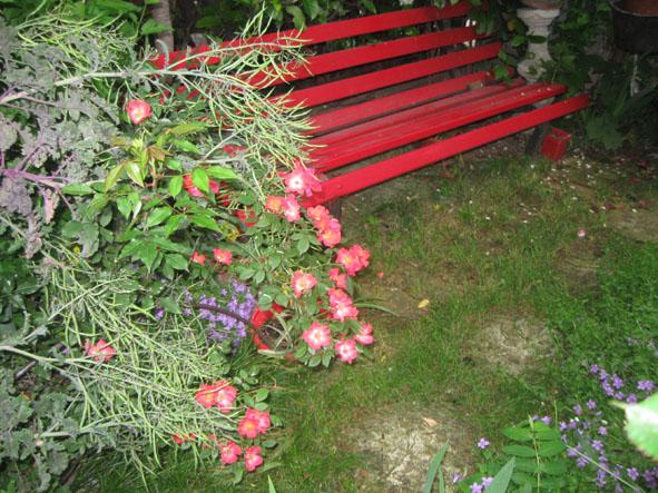 panchina rossa nel giardino di Riccardo e Silva